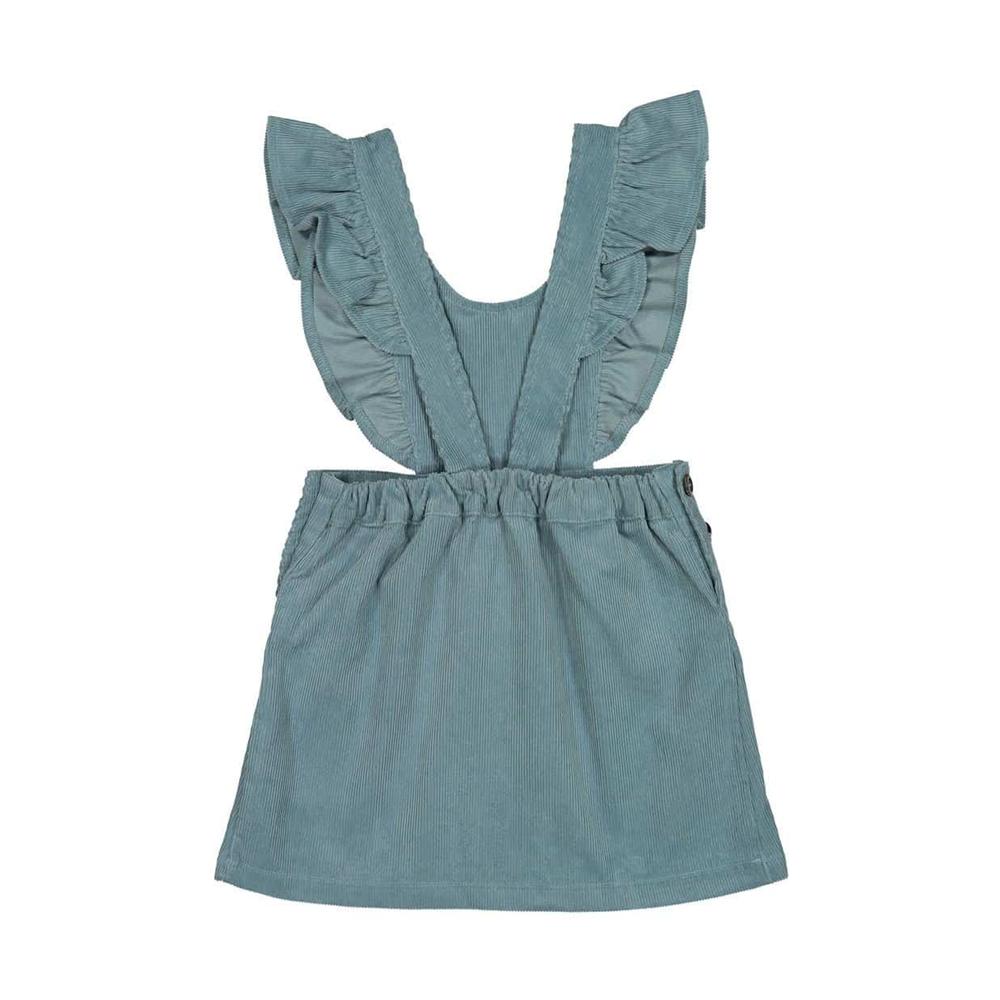 Plava somotna haljinica na tregere