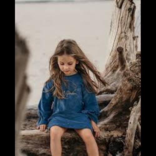 Plava haljina od pamučnog pliša-POSLEDNJI KOMAD