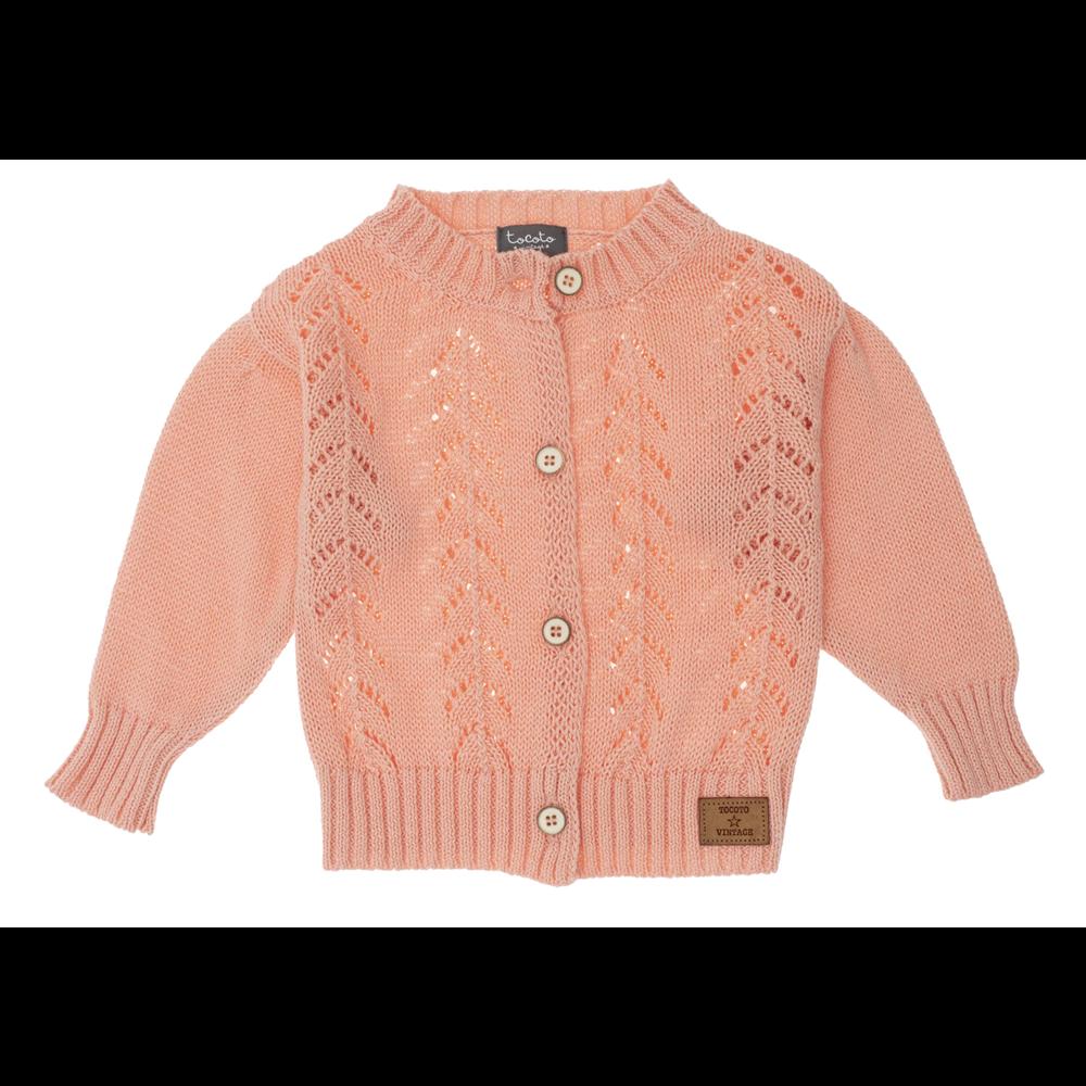 Kardigan od pamučnog konca za devojčice nežno pink boje