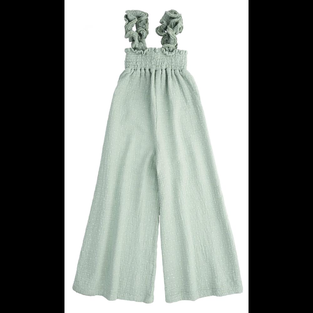 Prelep overal za leto sa širokim nogavicama na bretele nežno zelene boje