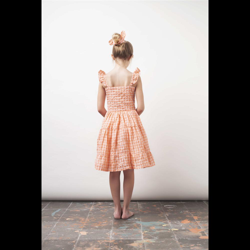 Letnja haljina na belo/ružičaste kockice,  na bretele i sa karnerima izuzetna letnja