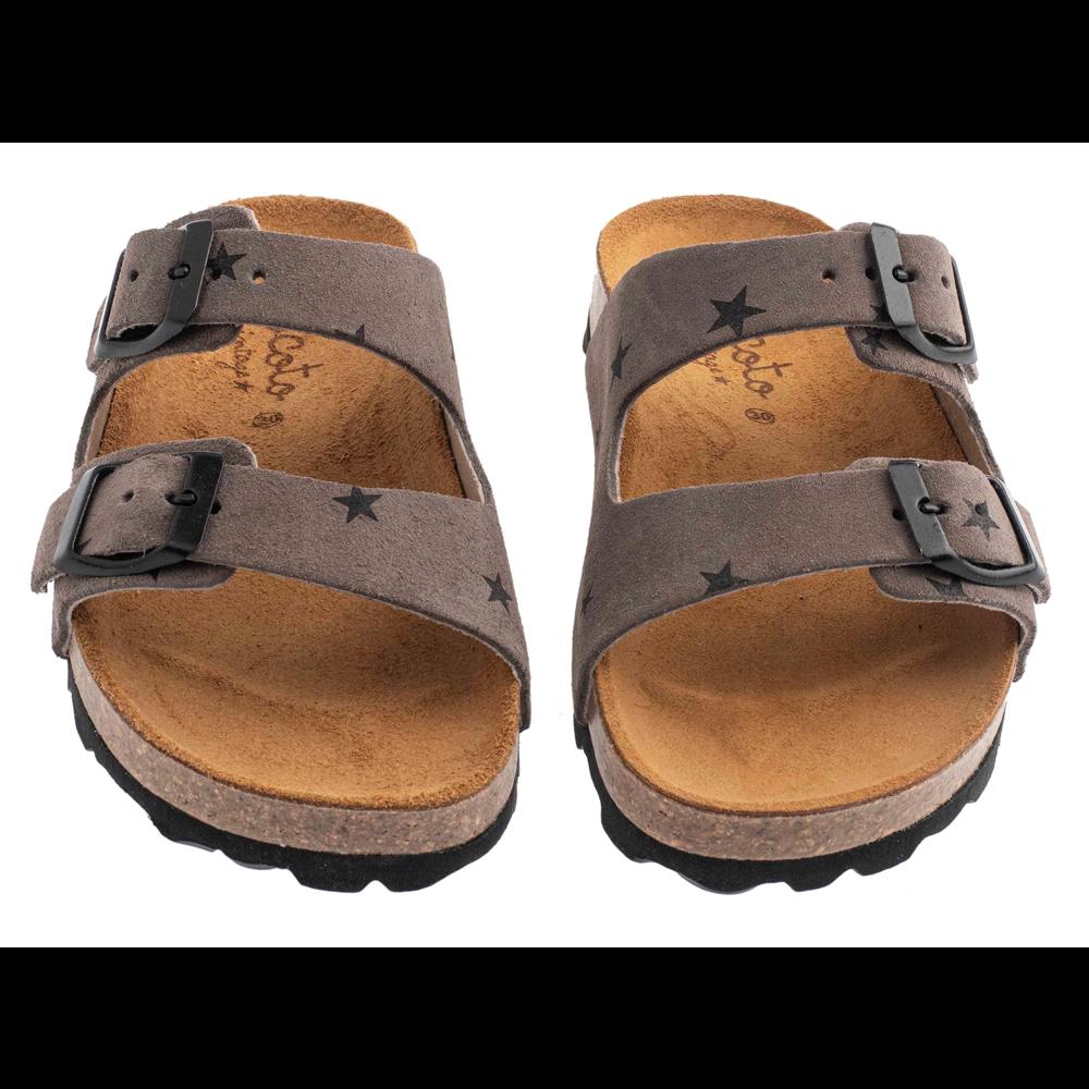 Letnje papuče sive sa zvezdicama u stilu birkenstok