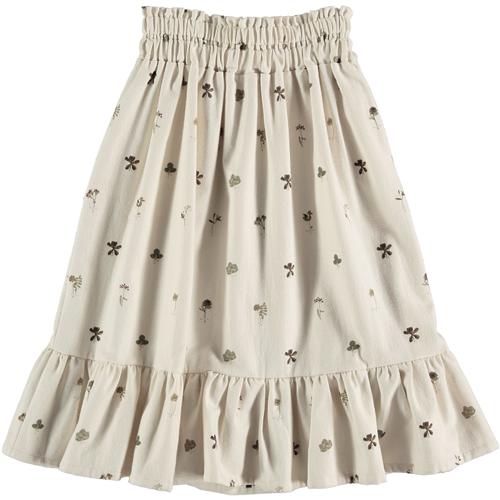 Bež svetlo suknja sa cvetićima od organskog pamuka za leto i jesen