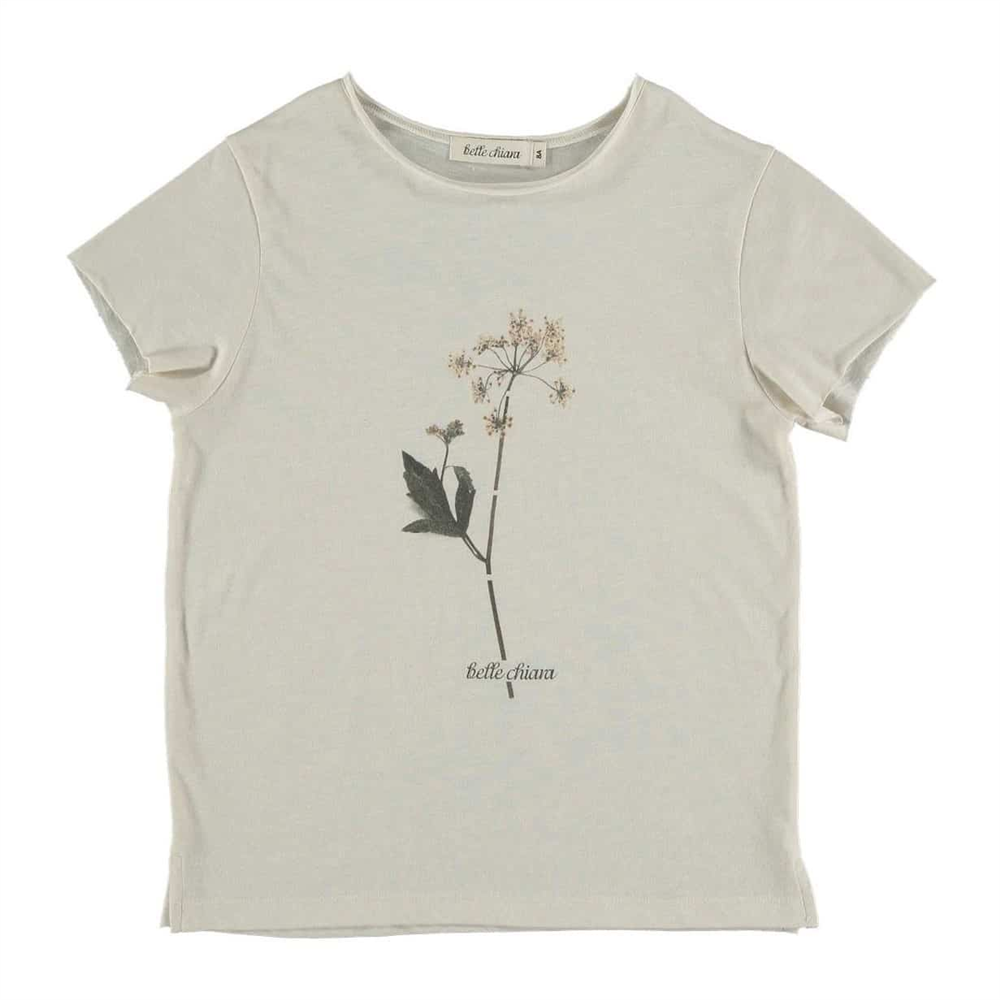 Majica kratkih rukava organski pamuk/svetlo bež boje sa svetnim detaljem