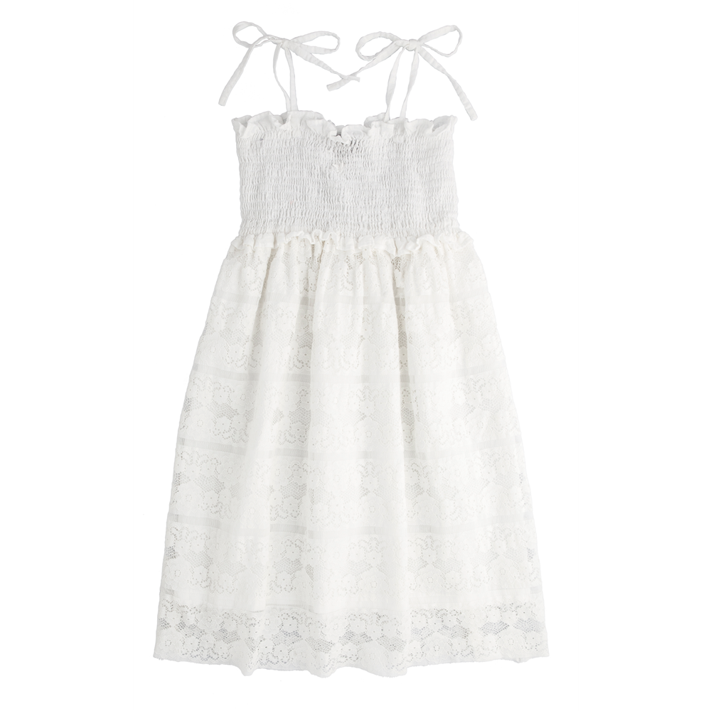 Letnja čipkana haljina na bretele bele boje