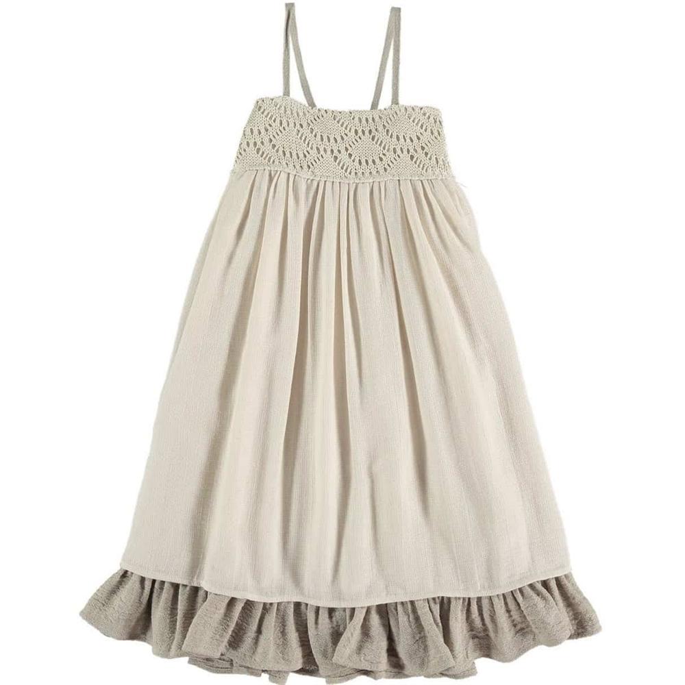Prelepa haljina od organskog pamuka na bretele sa vezom u gornjem delu
