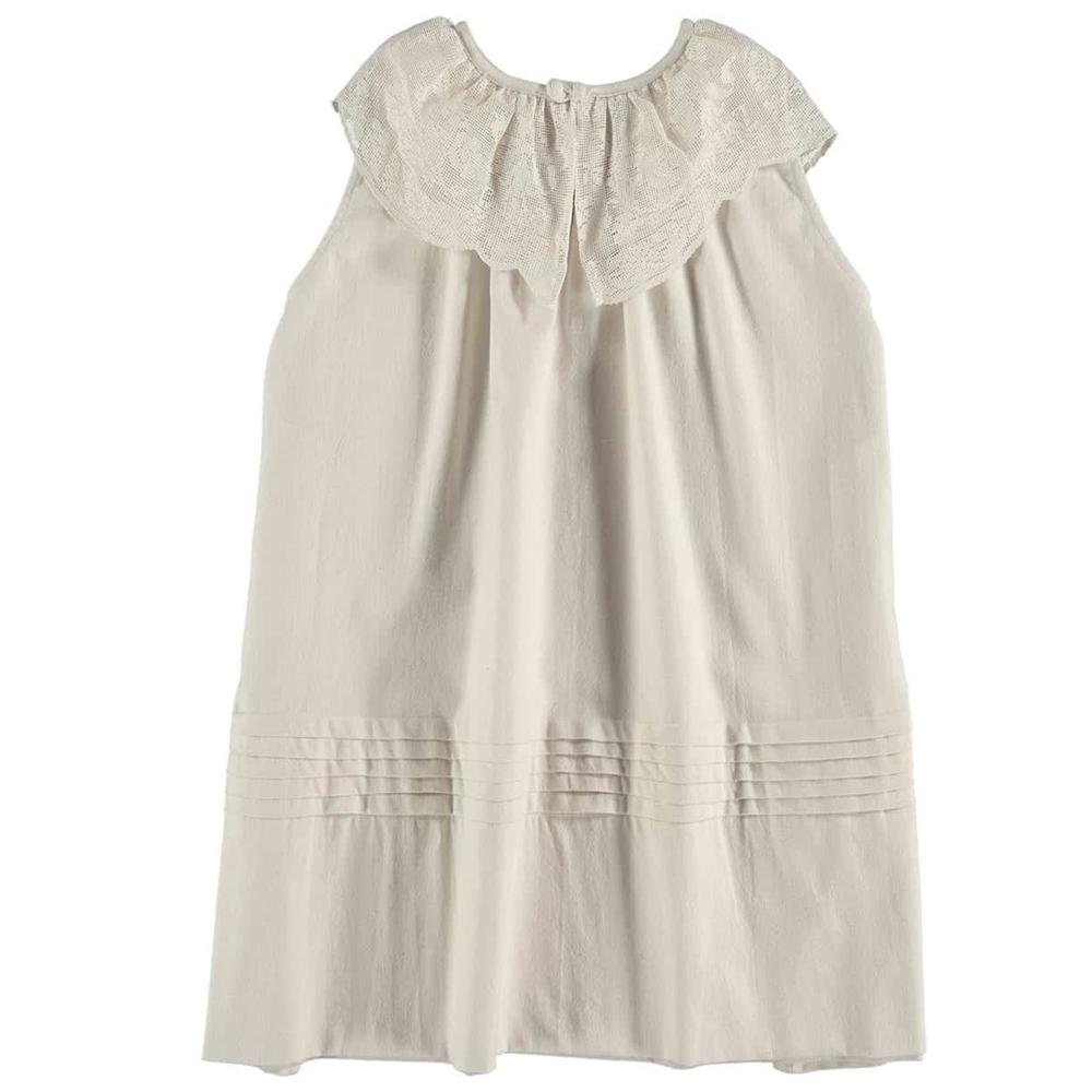 Haljina sa čipkanom kragnom bez rukava od organskog pamuka za leto