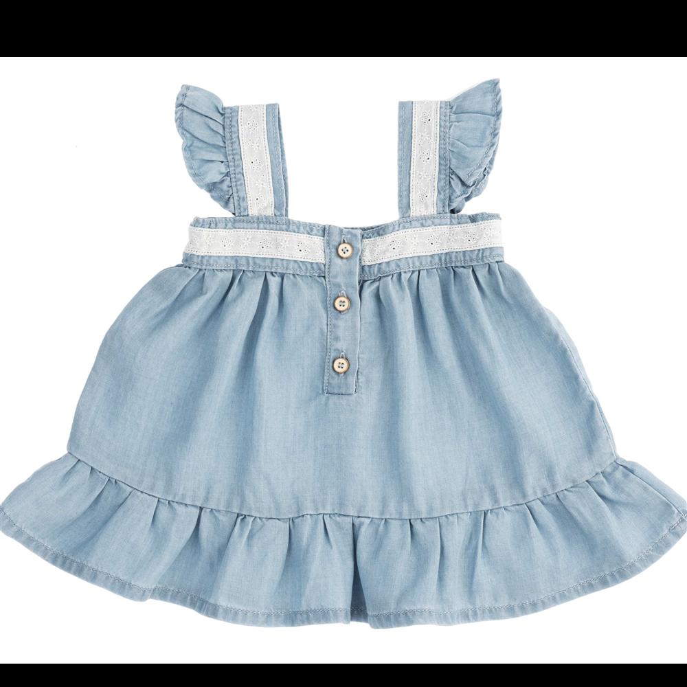 Letnja haljinica od liocela za bebe sa čipkanim bretelama