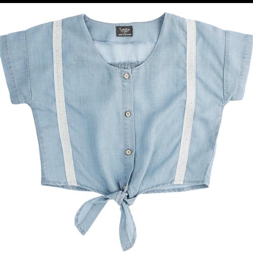 Interesantna košuljica kratkih rukava od liocela sa vezivanjem pri dnu