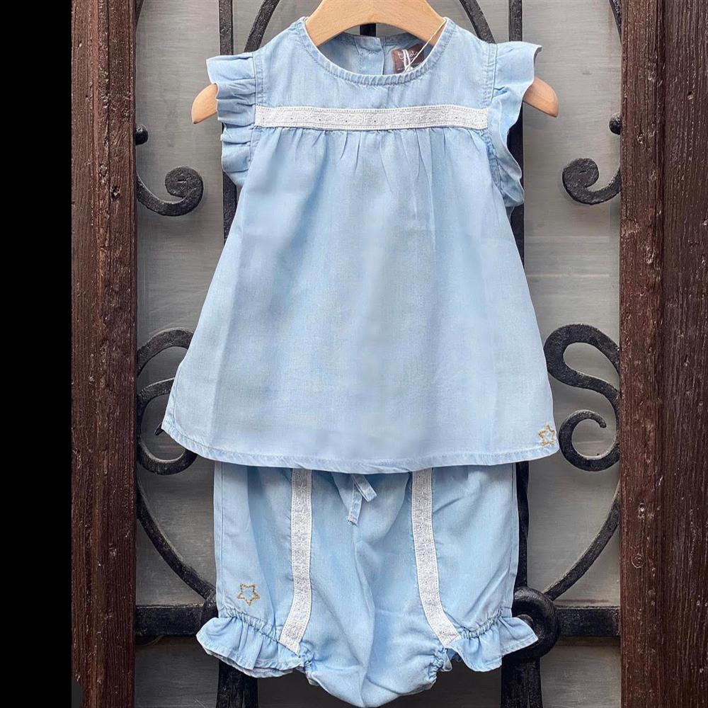 Bebi tunika od liocela sa čipkanim detaljima bez rukava i sa karnerićima