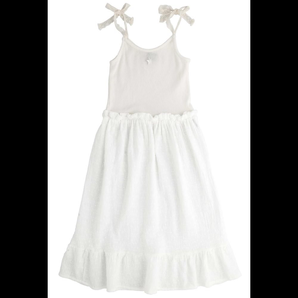 Letnja haljinica od organskog pamuka bele boje na bretele od čipke