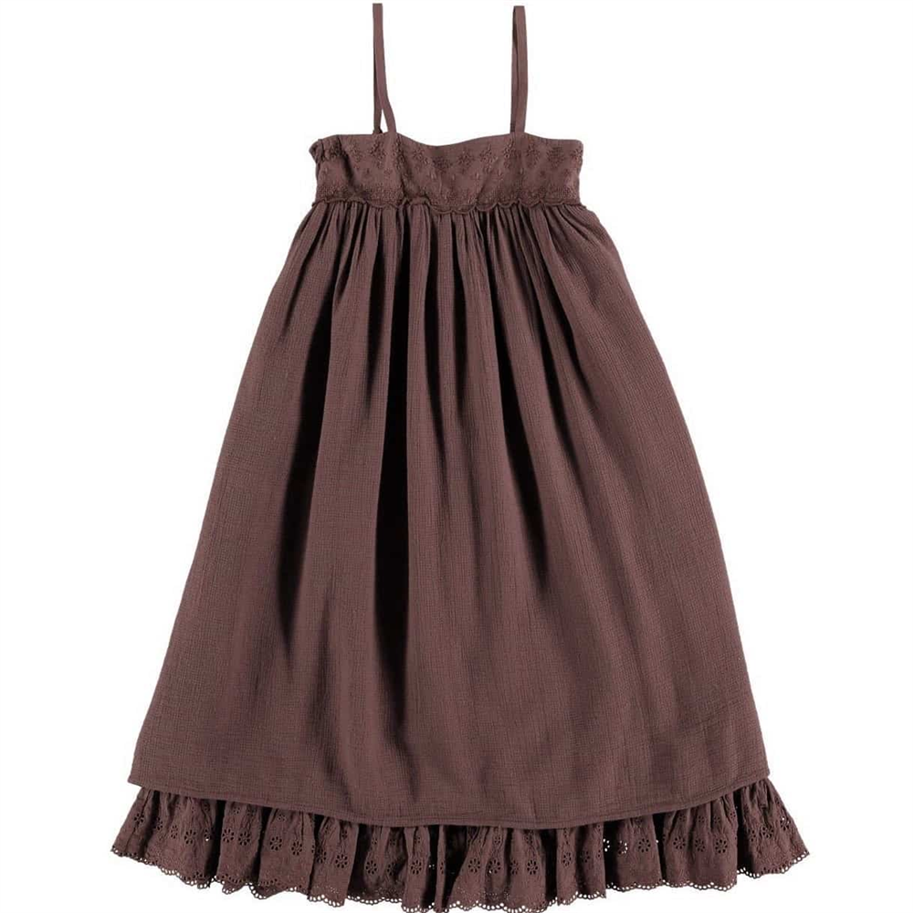 Letnja prelepa haljina na tregere od organskog pamuka, lagana, bordo boje