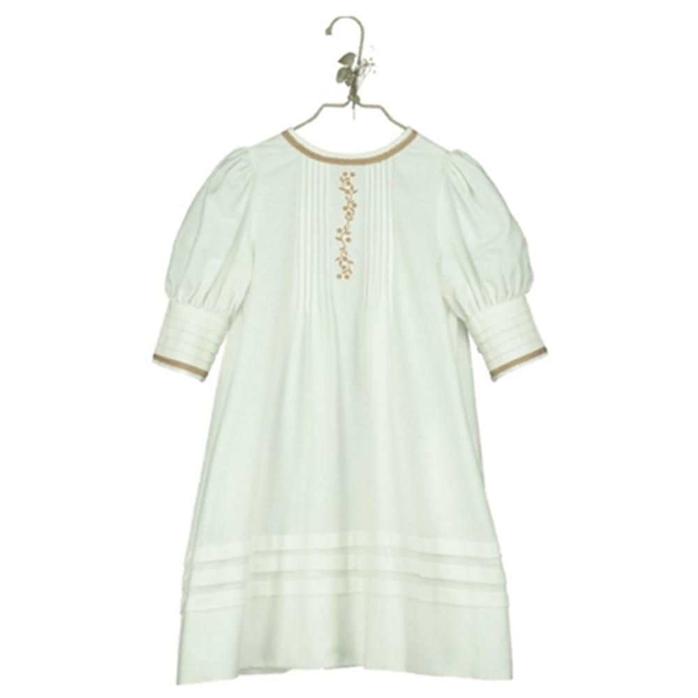 Bež svelo boja/haljina sa vezom napred i puf 3/4 rukavima-organski pamuk