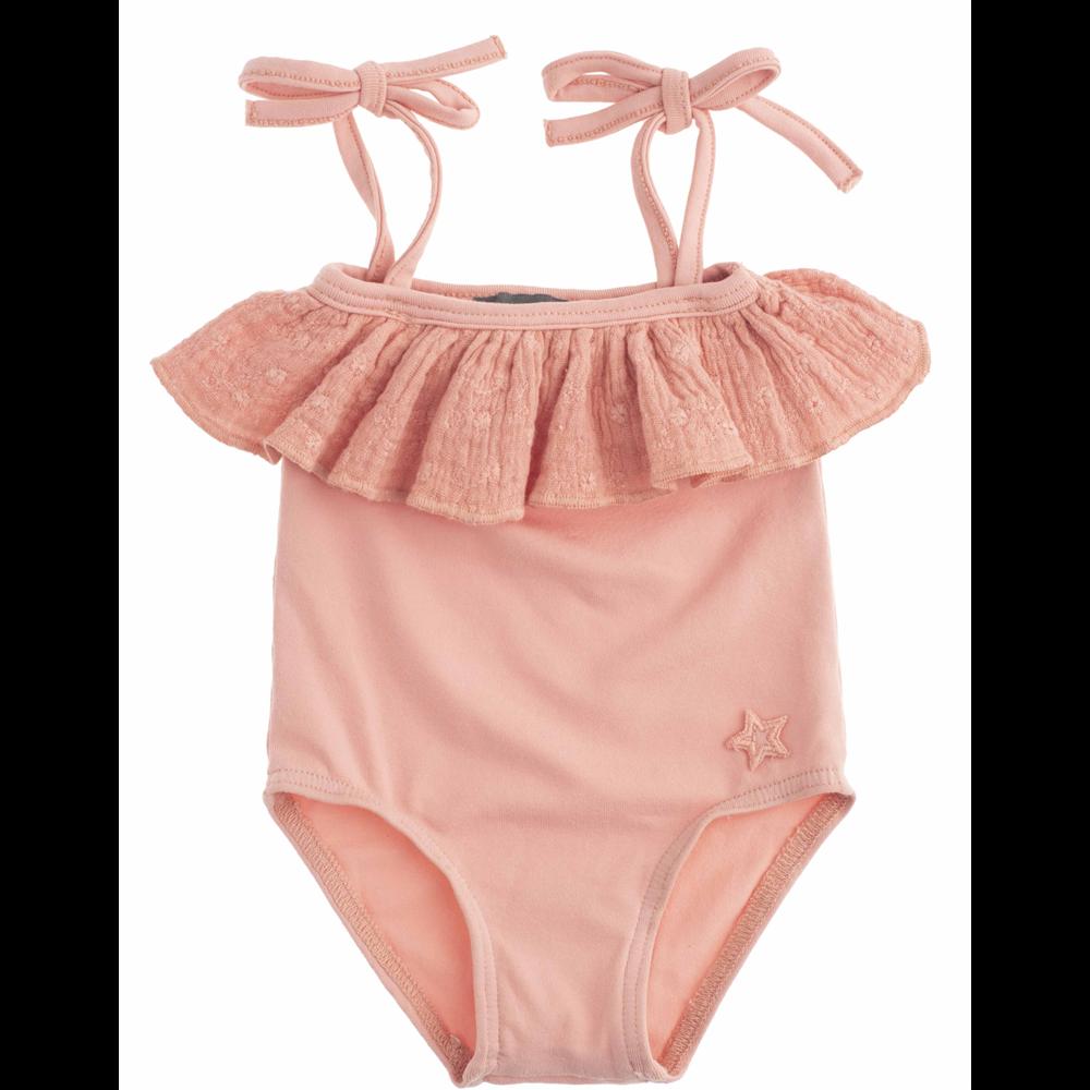 Roze kupaći kostim iz jednog dela sa karnerom u gornjem delu