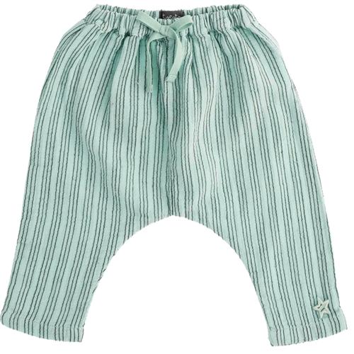 Pantalone na prugice bagy letnje tanke  od pamuka/unisex/zelena boja sa tamnijim prugicama