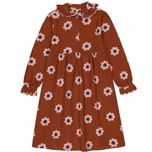 Braon svetla haljinica sa svetovima od pamučnog somota za jesen i zimu