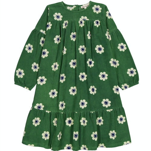 Cvetna haljina od mekanog pamučnog sitnog somota zelene boje za jesen i zimu