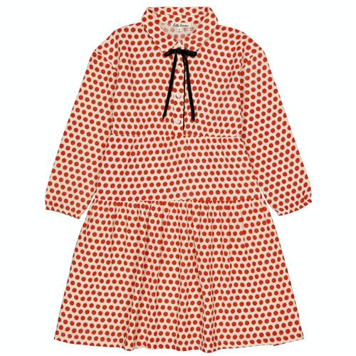 Bela haljinica sa crvenim tufnicama i mašnicom od pliša