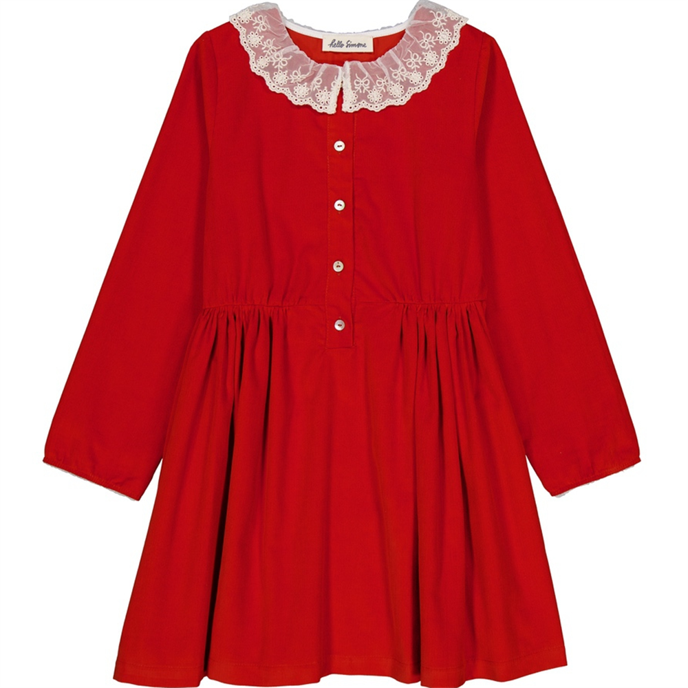 Crvena haljinica od sitnog mekanog somota sa belom čikanom kragnicom