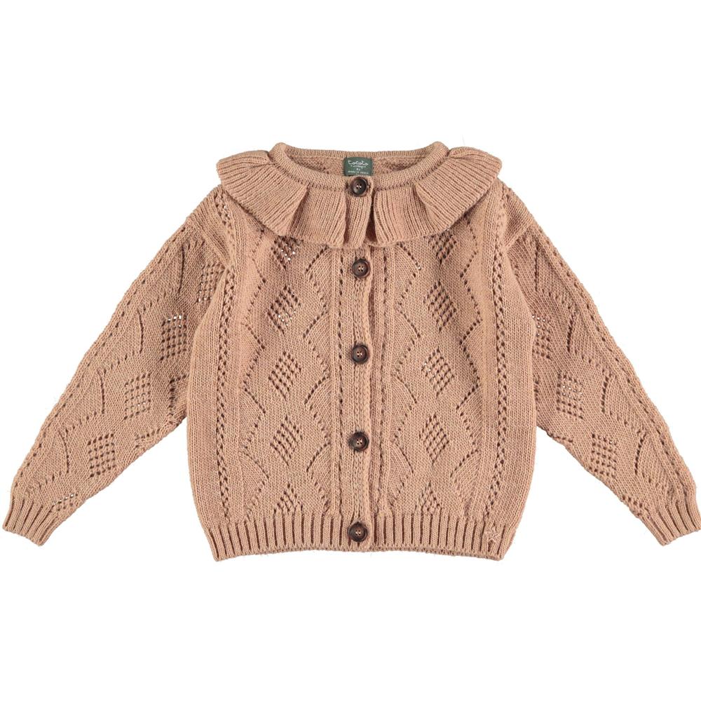 Džemper na kopčanje prljavo roze boje sa romantičnom kragnom/deblja vuna/može i kao jaknica za početak jeseni