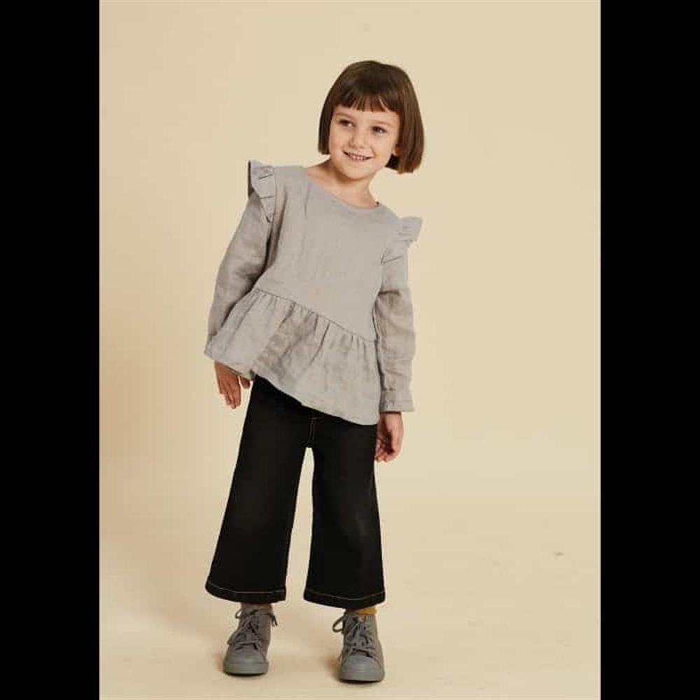 Denim crne pantalone šire ravne  7/8 dužina idealne za jesen i zimu