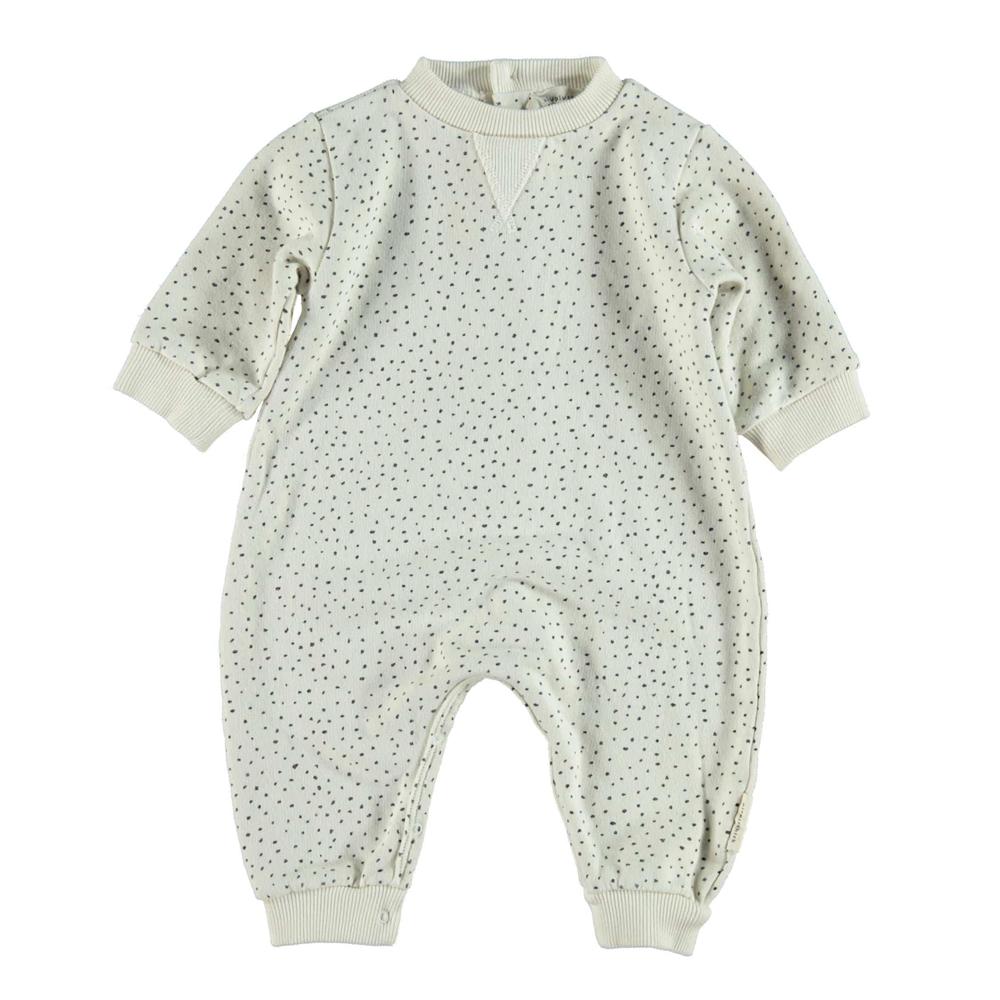 Overal za bebe od organskog pamuka bele boje sa cnim tufnicama