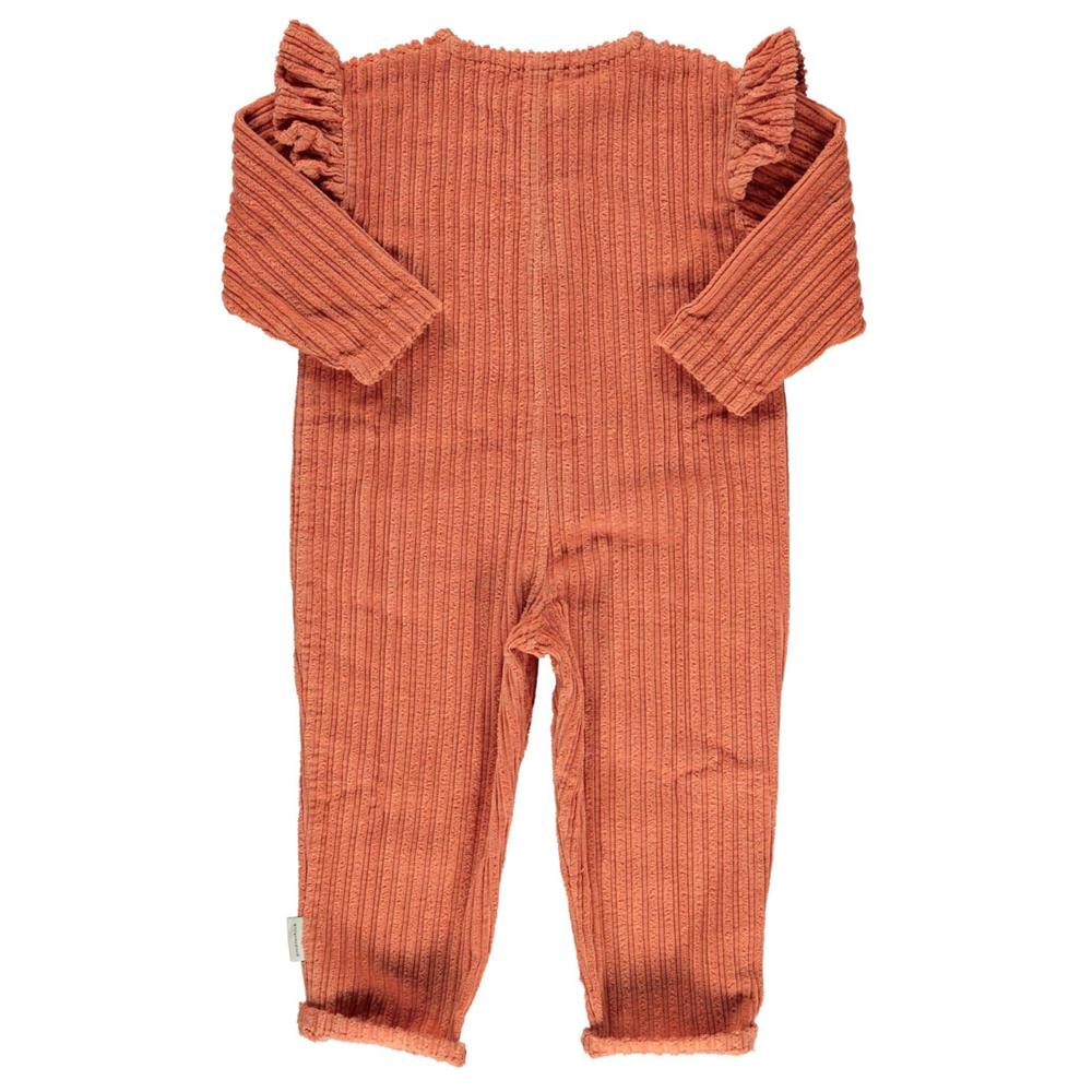 Overal za decu od pamučnog krupno rebrastog somota narandžaste boje