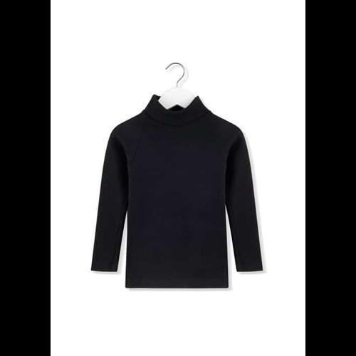 Crna majica pamučna, udobna sa rol kragnom-POSLEDNJI KOMAD